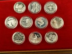France – 1 ½ Euros 2002/2007 (10 different coins) – silver