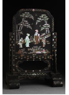 a mother of pearl inlaid black lacquer table screen - China - late 19th