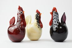Dario Frare (Frare glassworks) - Set of three hens