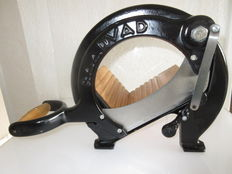 Vintage RAADVAD Cutter / Bread Slicer Danish Design  black Vegetable Fruit Cutting Board Guillotine Slicer Blade in wood and cast iron