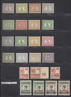 Dutch East Indies 1912/1922 - Number and support issue Wilhelmina - NVPH 99/114 + 142/148