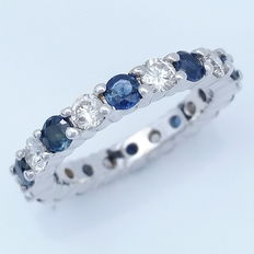 Sapphire and Diamond Full Eternity Band Ring, total 2.72 ct, 14k White Gold