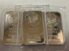 USA - 3 x 1 oz 999 silver bullion Sunshine Minting V2 Eagle