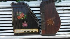 Vintage 1900-10 fretless guitar-zither made in Germany - black with Rose Design - and guitar-zither of unknown origin and brand
