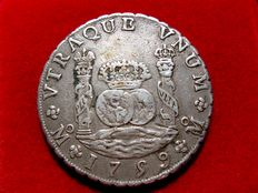 Spain - Fernando VI (1746-1759) - 8 silver reales (26.8 g, 38 mm), Mexico Mint, 1759. Assayer: M.F. Columnario style, last year of his reign.