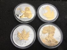 China + Great Britain + Canada + America - 4 x 1 oz - Chinese Panda 2017 - Britannia 2017 + Maple Leaf 2016 + Silver Eagle 2016 with 24-Carat Gold Finish