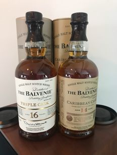 2 bottles - The Balvenie 16yo triple cask and 14yo carribean cask