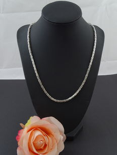 Silver 925 king's braid link necklace, 60 cm.