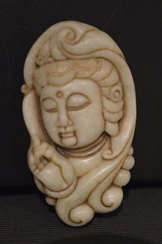 Jade  jadeite  pendant carving of Kwan-Yin Head