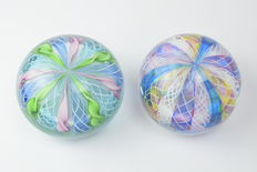 A.VE.M.  (Murano) - a rare pair of Reticello paperweights