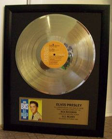 3 x Gold records Elvis - Wonder of You with concerttockets- G.I. Blues Lp and Single record
