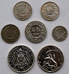 World - Lot of 7 coins (Germany, Great Britain, Switzerland) 1911/1970 - Silver