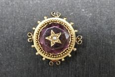 Antique gold slide pendant with amethyst and pearl