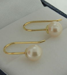 Gold classic dangle earrings in 14 kt, set with freshwater pearls of 6 mm