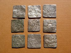 Al-Andalus – Almohad Caliphate (1148 – 1228), set of 9 silver dirhams. Anonymous, no date or mint marks. (9)
