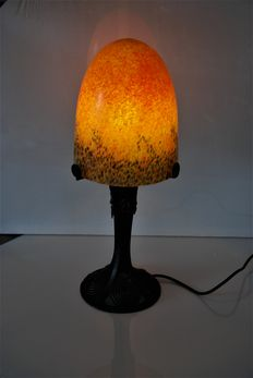 Large lamp of forged iron with large glass bulb shade