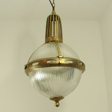 Two robust bar lamps with prism glass and a brass fixture.