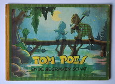 """Oliver B. Bumble and Tom Puss - """"Blader mee"""" series 3 - Tom Poes en de begraven schat - hardcover with cloth spine - 1st edition - (1946)"""