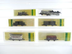 Minitrix N – 13664/3212/3202/13601/13647/a.o. - 7 different freight carriages of different regional tracks/DB/DR, Era 1-3  [699]