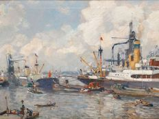 Evert Moll (1878 1955)-work in the Maas harbour with grain elevators