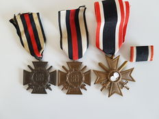 2 x Hindenburg honour cross with swords, KVK 2nd  class.