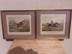 2 Humorous hunting scene engravings