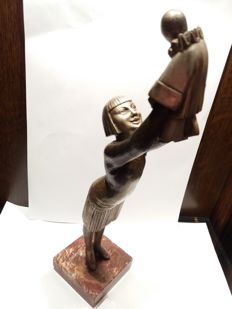 Bronze Art Deco sculpture of mother and her child dressed as a Pierrot