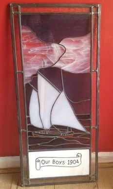 "Leaded glass panel depicting the Cornish Lugger ''Our Boys"" launched in 1904"
