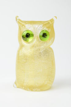 Dario Frare (Frare glassworks) - Gold leaf owl