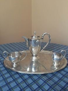 A silver four piece coffee set, Hungary, 20th century