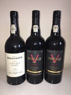 1x 1991 Vintage Port Graham's & 2x 2004 Quinta da Romaneira Vintage Port  – 3 bottles of 0.75 L
