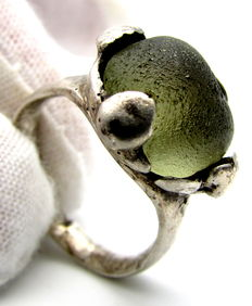 Saxon Era Silver Ring with Large Yellow Stone - 18mm