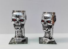 Terminator 2 - Judgement Day - 20th anniversary item - set of 2  Head Goblets with glass coasters - T-800 - height 20 cm