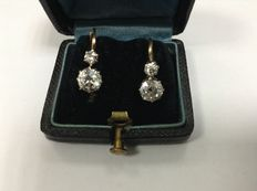 Antique 14k gold earrings with 1.6ct diamonds, coming from Romania 1900-1930