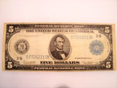 United States - 5 Dollars 1914 'Blue Seal' Federal Reserve Note - Pick 359