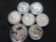 Somalia - 100 & 200 Shillings 2012/2017 'African Wildlife' (lot of 7 coins) - Zilver