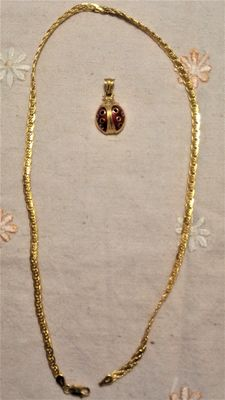 Gold necklace with beetle pendant