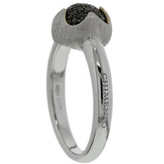 Chimento - 'Happiness' women's ring, white gold with black diamond in matt setting - Ring size 17.2 (54)
