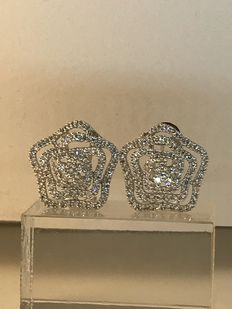 Earrings in 18 kt gold and diamonds 1.60 ct
