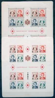 Monaco 1951 - Red Cross sheet - Yvert 4A and 4B