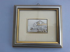 Silver on gold plaque in a beautiful frame