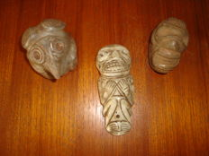 Taino Greater Antilles - Collection of 3 Cohoba ceremony objects - carved and polished stone #08