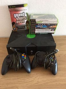 Xbox with 2 controllers and 10 games