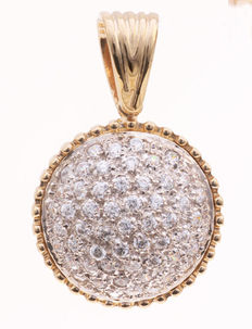 Gold pendant inlaid with zirconia, set in pavé - 20 mm.