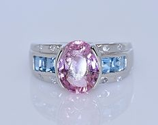 Pink Tourmaline, Topaz, and Diamonds ring - Size: 15 - No reserve price!