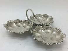 antique silver metal basket, England c. 1900