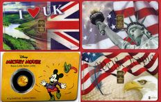 3.50 grams of 999.9 gold - 4 Gold Cards - DISNEY  MICKEY  MOUSE  1938  -  I LOVE UK  -  USA IN GO(L)D WE TRUST  -  USA WE THE PEOPLE -  LBMA Certificate  -  Karatbars International GmbH