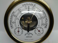 Special marine barometer with barometer-thermometer-hygrometer in solid brass and glass - ALTITUDE - made in France - 1980-