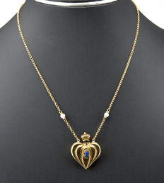 Cord with heart-shaped perfume bottle pendant 750/1,000 yellow gold (18 kt) - Cultured Akoya pearl - Chain: 44 cm – Maximum pendant height: 30.00 mm (approx.)