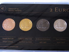 "Luxembourg - 2 Euro 2014 ""Precious Metal Set"" (4 plated coins)"